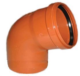 Колено 200/67  оранж. канализ ПП (Sanibud)