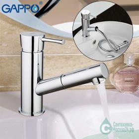 GAPPO G1209 (смеситель  хромированный для кухни-ф35 выдвижной излив)