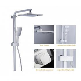 GAPPO G2407-30 (душевая система с верхним душем, смесителем и ручной лейкой белый/хром)