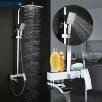 GAPPO G2407-8 (душевая система с верхним душем, смесителем и ручной лейкой хром)