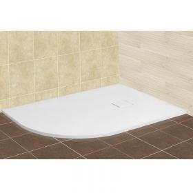 Поддон асимметричный из искусственного камня серия RGW Stone Tray ST/AR (белый) с крышкой в цвет поддона (ПРАВЫЙ)