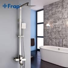 FRAP F2421 (нержавейка душевая система со смесителем хромированный излив поворотный )