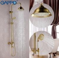 GAPPO G2497-4 ( душевая система с хрустальными ручками излив является переключателем на лейку бронза)